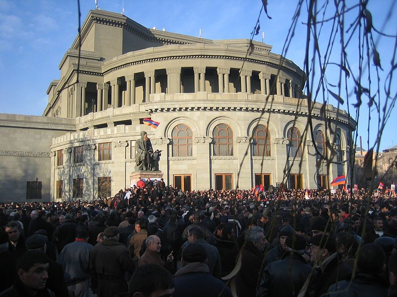 Armenian security forces and demonstrators clashed in Yerevan
