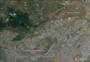 Kasarani Stadium is located four miles northeast of the Eastleigh neighborhood of Nairobi