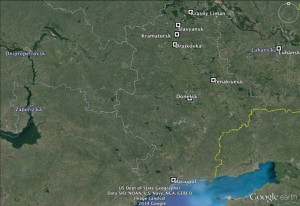 Map of eastern Ukraine where events are taking place