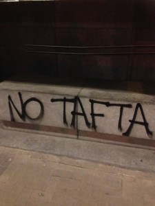 Graffitti Outside the EU Directorate-General for Communication. TAFTA (Transatlantic Free Trade Area) is an alternate name for TTIP