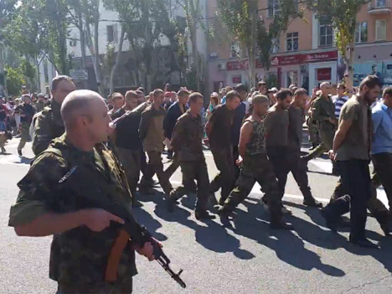 Ukrainian prisoners of war paraded in Donetsk