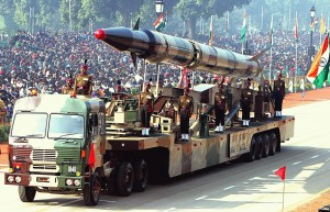 The Indian Army's Agni II missile on parade.