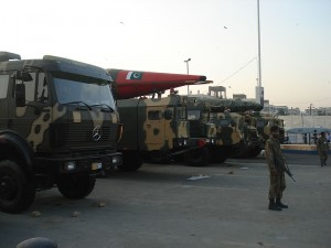Truck-mounted Missiles on display at the IDEAS 2008 defence exhibition in Karachi, Pakistan