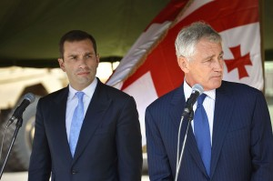 Ex Defense Minister Irakli Alasania with U.S. Secretary of Defense Chuck Hagel