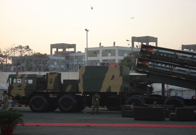 A truck-mounted launch system (TEL) armed with 4 Babur cruise missiles on display at the IDEAS 2008 defence exhibition in Karachi, Pakistan. (Photo: Courtesy of WikiCommons)