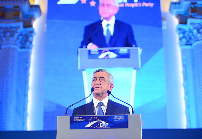President Serzh Sargsyan at EPP Congress (Photo: Courtesy of WikiCommons)