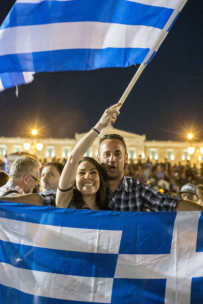 "People celebrating the win of ""NO"" in the Greek Referndum, Syntagma square, Athens, Greece. (Photo: Courtesy of WikiCommons)"