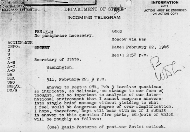 "Screenshot of a part of the ""Long Telegram"" by George Kennan to George Marshall dated February 22, 1946. Harry S. Truman Administration File, Elsey Papers. (Photo: Courtesy of Harry Truman Library)"