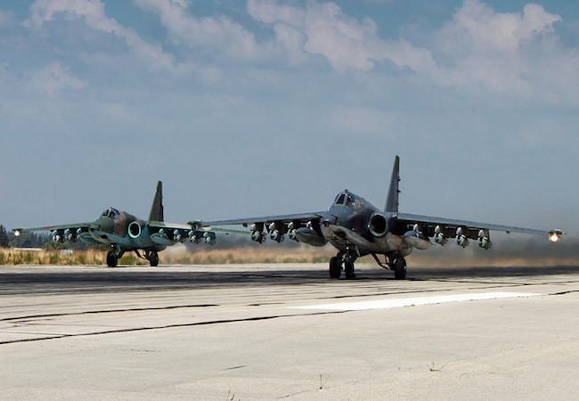 Russian Sukhoi Su-25 aircraft pictured at Latakia airbase, Syria (Photo: Courtesy of WikiCommons)