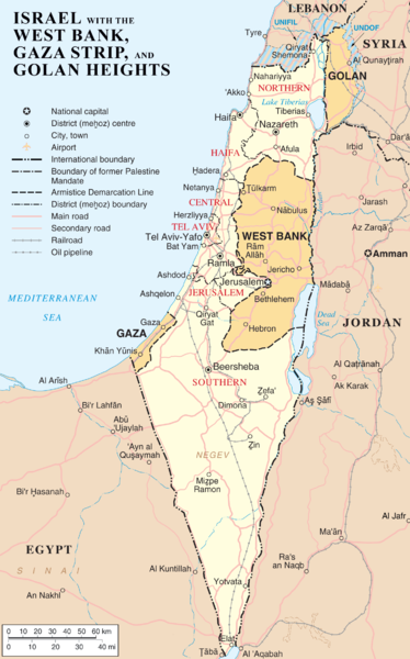 Map of Israel showing the West Bank, the Gaza Strip, and the Golan Heights. (Photo: Courtesy of WikiCommons)