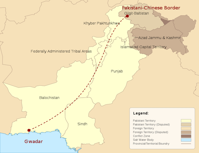 Map of China-Pakistan Economic Corridor. (Photo: Courtesy of WikiCommons)