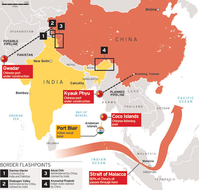 India-China border flashpoints. (Photo: Courtesy of Russian International Affairs Council)
