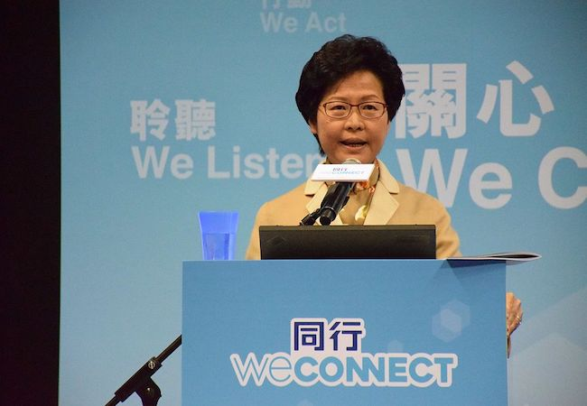 Hong Kong elects China-backed first female leader Carrie Lam as chief executive