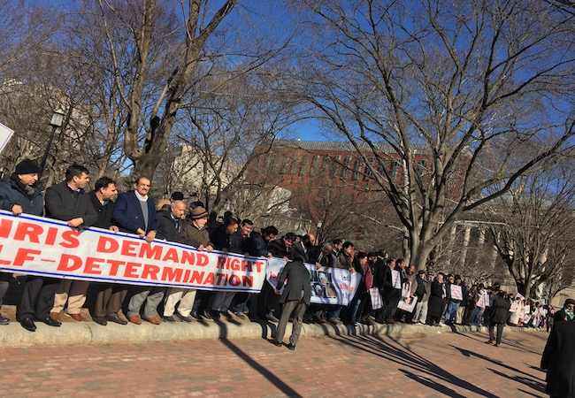 Kashmiri Americans demonstrate near the White House to call for freedom and justice in Kashmir
